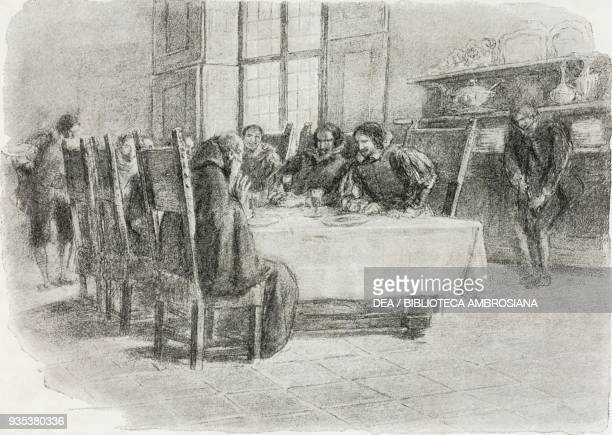 Fra Cristoforo visiting Don Rodrigo and Count Attilio, illustration by Gaetano Previati , from The Betrothed, A Milanese story of the 17th century,...