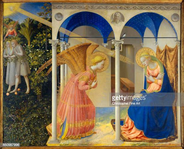 Fra Giovanni Angelico The Annunciation 14251428 Tempera on panel 194 x 194 m Madrid museo del Prado