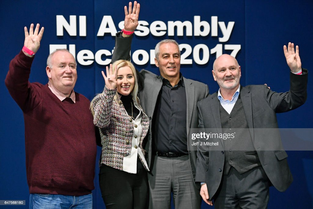 Fra McCann, Orlaithi Flynn, Pat Sheehan, and Alex Maskey stand for a photograph after winning four seats for Sinn Fein in West Belfast in the Northern Ireland assembly election on March 3, 2017 in Belfast, Northern Ireland. A snap election was called following the resignation of the Deputy First Minister Martin McGuiness, with indications showing that voter turnout yesterday was considerably higher than in May last year. Voters went to the polls yesterday for the second time in 10 months after the collapse of the power sharing executive government.