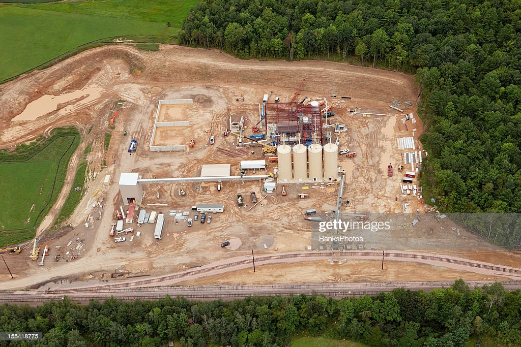 Frac Sand Processing Facility Construction Aerial : Stock Photo