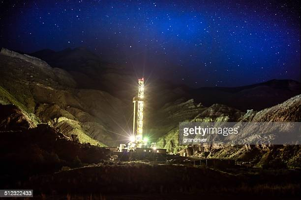 Fracking Drill Rig at Night