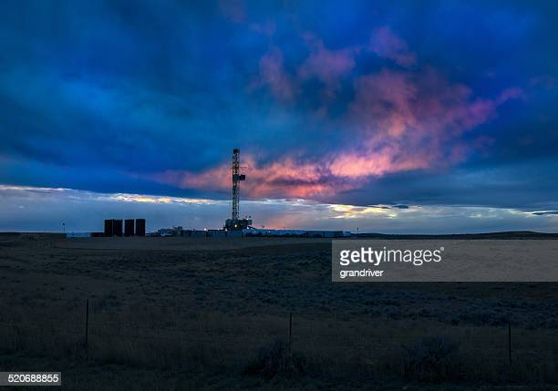 Fracking Drill Rig at Sunset