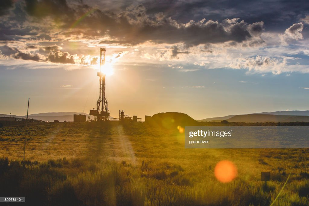 Fracking Drilling Rig at the Golden Hour : Stock Photo