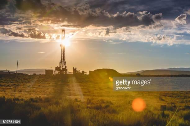 Fracking Drilling Rig at the Golden Hour