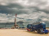Fracking Oil Rig at sunset
