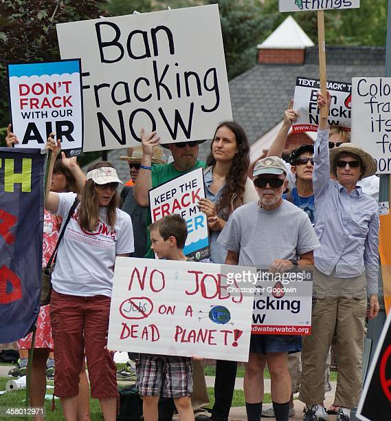 Fracking opponents demonstrate at the Democratic Governor's Conference in Aspen Colorado .
