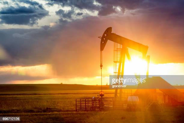 Fracking Pump Jack at Dusk with Sunset
