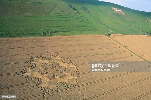 fractal crop circle - crop circle stock pictures, royalty-free photos & images