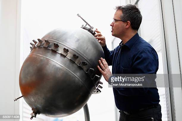 Fracture Engineer, Andreas Tesch inspects a Titanium Tank used in the Vega launch near the Materials and Processes Division / Mechanical Testing...