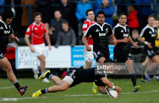 Frae Wilson of New Zealand Maori All Blacks scores a try during the RFU Championship XV and New Zealand Maori All Blacks rugby match at Castle Park...