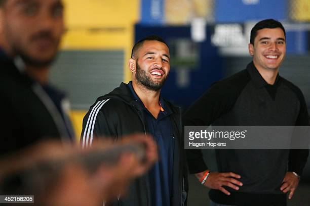 Frae Wilson of the Highlanders and James Lowe of the Chiefs enjoy a laugh during the New Zealand Rugby Union induction day at Westpac Stadium on...