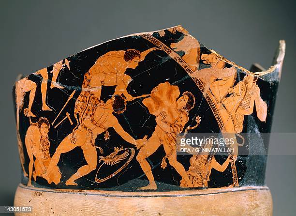 Fragment of a krater with a scene of the Battle of the Gods redfigure pottery Italy Greek civilization Magna Graecia 5th Century Naples Museo...