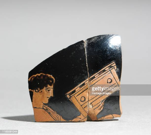 Fragment of a Painted Vase: Maiden Carrying a Coffer, c. 430 BC. Creator Unknown.