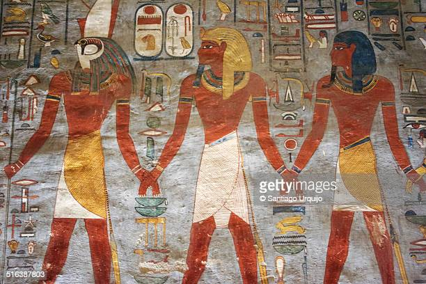 fragment of a painting in tomb of ramses i - egyptian culture stock photos and pictures
