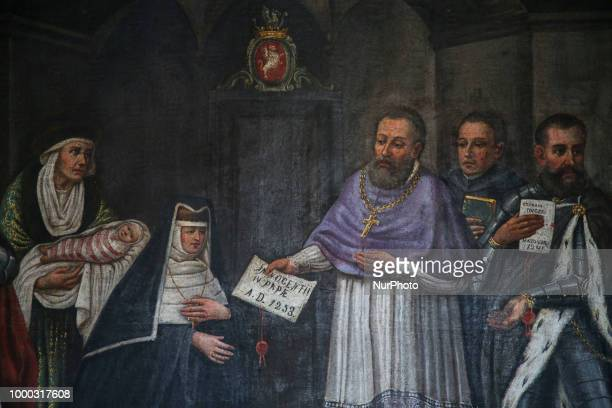 A fragment of a painting with Pope Innocent IV at the Monastery of Benedictine Nuns in Staniatki Poland on 16 July 2018 Monastery in Staniatki...