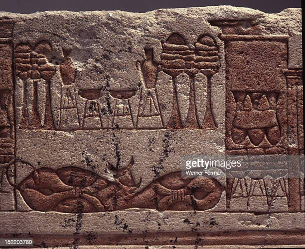 A fragment of a relief depicting animal and food offerings Such reliefs come from the temples and palaces at Akhenaten the capital of Egypt under...