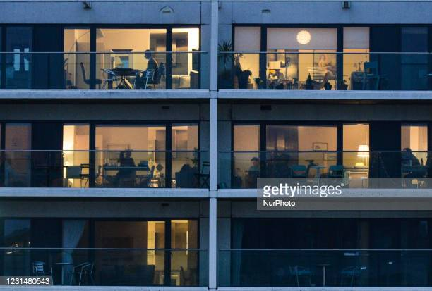 Fragment of an apartment complex in Dublin's Grand Canal area seen during Level 5 Covid-19 lockdown. On Tuesday, March 2 in Dublin, Ireland.