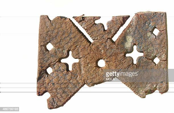 Fragment of medieval leather with elaborate openwork decoration the diagonal linear cutouts were made with a serrated bladed implement from the...