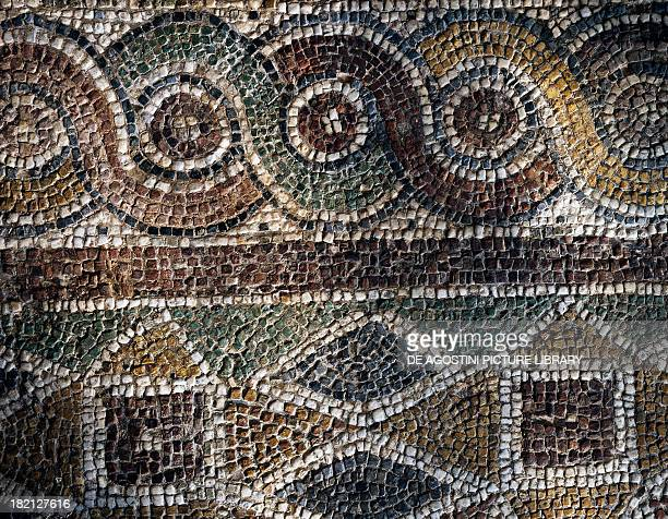 Fragment of mosaic with geometric patterns uncovered in the Agora of Smyrna Turkey Roman Civilisation 2nd century Izmir Izmir Arkeoloji Muzesi