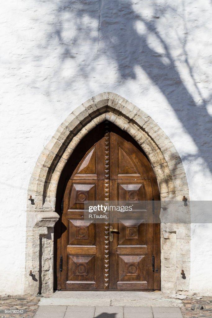 fragment of wooden ancient door : Stock Photo