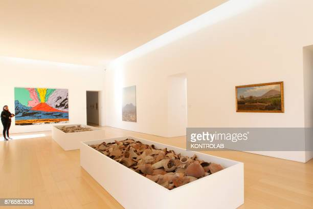 MUSEUM NAPLES CAMPANIA ITALY Fragments of marble decorations and pottery are displayed next to the work 'Vesuvius' by Andy Warhol and gioacchino Toma...