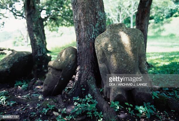 Fragments of sculptures Tonina Ocosingo Chiapas Mexico Mayan civilisation 6th9th century