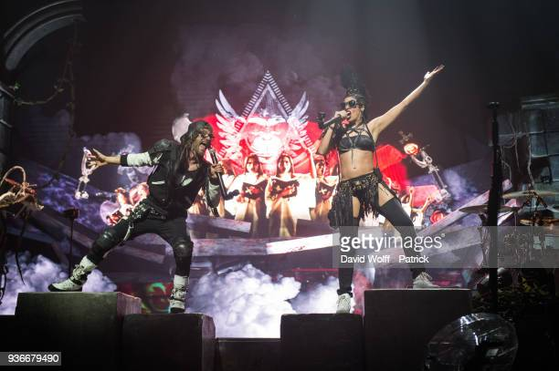 Frah and Samaha Sam from Shaka Ponk perform at AccorHotels Arena on March 22 2018 in Paris France