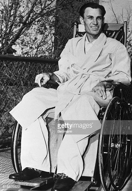 Frail but smiling champion golfer Ben Hogan relaxes in the sunshine in a wheelchair at the Hotel Dieu Hospital as he recovers from a near fatal auto...