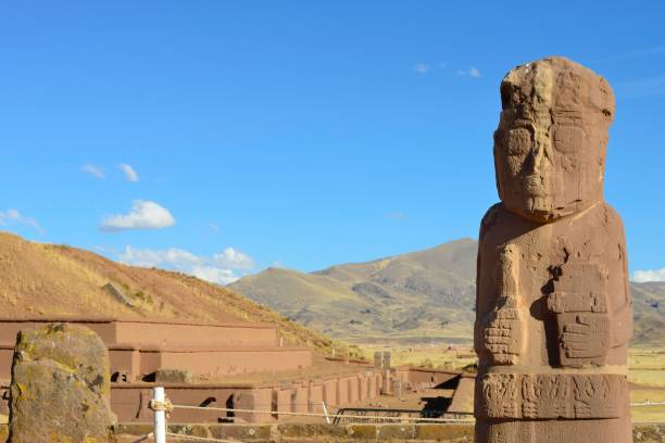 Fraile monolith or monk monolith of the pre-Inca period in the ruins of Tiwanaku, also Tiahuanaco, Unesco World Heritage Site, La Paz Department, Bolivia
