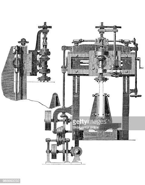 Frais machine milling machine for processing bent metal plates industrial product from the year 1880 digital improved reproduction of a woodcut from...