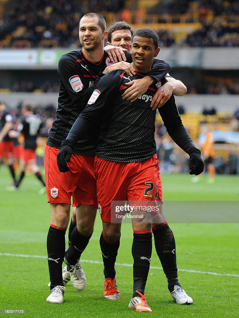 Fraizer Campbell of Cardiff (centre) celebrates scoring their second goal during the npower Championship match between Wolverhampton Wanderers and Cardiff City at Molineux on February 24, 2013 in Wolverhampton, England.