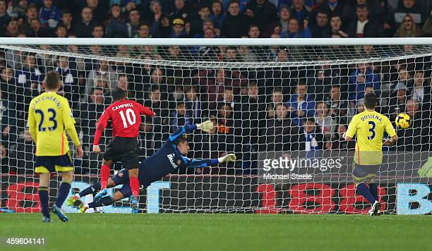 Fraizer Campbell of Cardiff City scores his sides second goal during the Barclays Premier League match between Cardiff City and Sunderland at the...