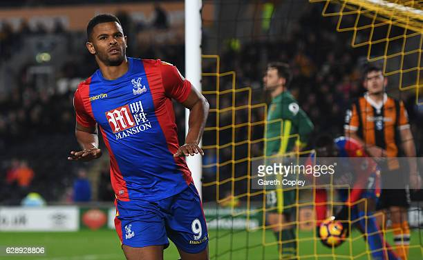 Fraizer Campbell of Crystal Palace celebrates as he scores their third goal during the Premier League match between Hull City and Crystal Palace at...