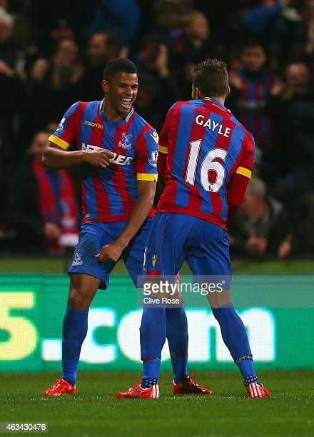 Fraizer Campbell of Crystal Palace celebrates scoring the opening goal with Dwight Gayle of Crystal Palace during the FA Cup fifth round match...
