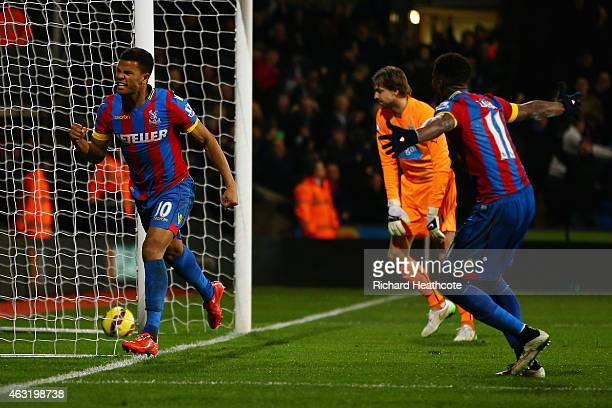 Fraizer Campbell of Crystal Palace celebrates scoring their first goal during the Barclays Premier League match between Crystal Palace and Newcastle...