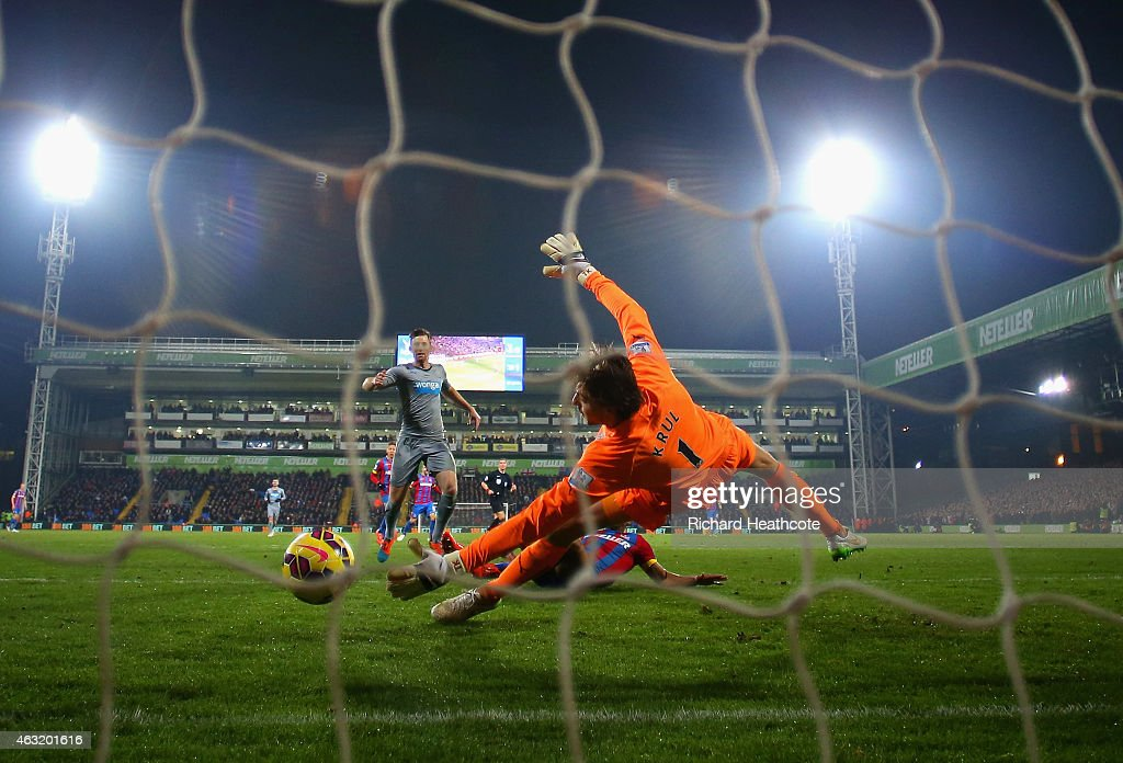 Fraizer Campbell of Crystal Palace scores their first goal past Tim Krul of Newcastle United during the Barclays Premier League match between Crystal Palace and Newcastle United at Selhurst Park on February 11, 2015 in London, England.