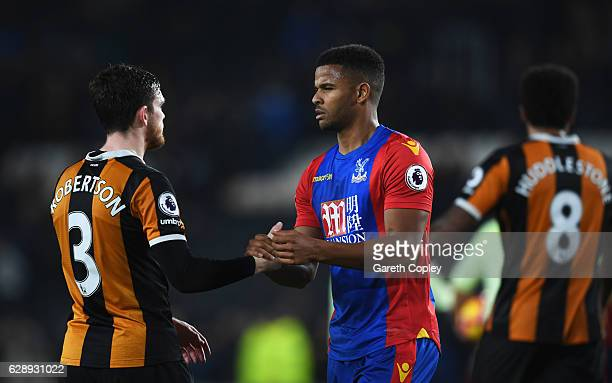 Fraizer Campbell of Crystal Palace shakes hands with Andrew Robertson of Hull City after the Premier League match between Hull City and Crystal...