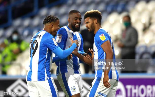 Fraizer Campbell of Huddersfield Town celebrates scoring his teams first goal during the Sky Bet Championship match between Huddersfield Town and...