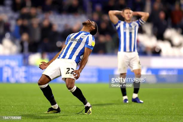 Fraizer Campbell of Huddersfield Town reacts after hitting the bar during the Sky Bet Championship match between Huddersfield Town and Birmingham...