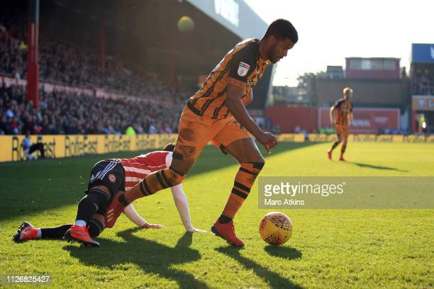 Fraizer Campbell of Hull City in action with Said Benrahma of Brentford during the Sky Bet Championship match between Brentford and Hull City at...