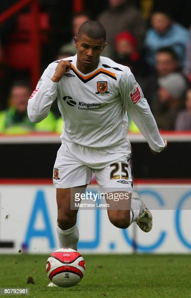 Fraizer Campbell of Hull in action during the CocaCola Championship match between Sheffield United and Hull City at Bramall Lane on April 19 2008 in...