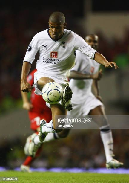 Fraizer Campbell of Tottenham Hotspur controls the ball during the UEFA Cup First Round First Leg match between Tottenham Hotspur and Wisla Krakow at...