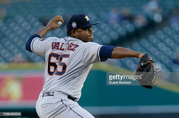 Framber Valdez of the Houston Astros pitches against the Detroit Tigers at Comerica Park on September 11 2018 in Detroit Michigan