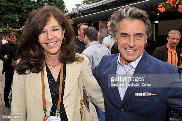 Framboise Holtz and Gerard Holtz at Roland Garros Village in Paris