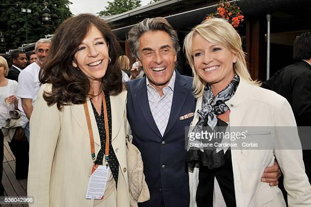 Framboise Holtz Gerard Holtz and Sophie Davant at Roland Garros Village in Paris