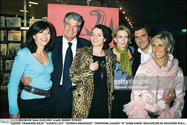 Framboise Holtz Maurice Levy Cendrine Dominguez Christophe Lambert and Marie Sarah reopenning the Drugstore Publicis on the Champs Elysees in Paris...