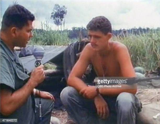Frame grab of American news broadcaster Don Webster left correspondent for CBS News as Webster interviews PFC Stewart Dennis about the reported...