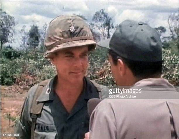 Frame grab of American news broadcaster Mike Wallace right correspondent for CBS News as Wallace interviews United States Army Lt Col Alexander Haig...