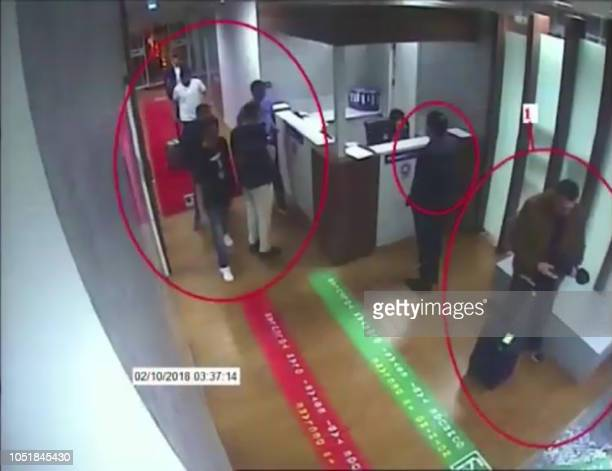 A frame grab on October 10 2018 taken from a police CCTV video made available through Turkish Newspaper Sabah allegedly shows suspects in the case of...