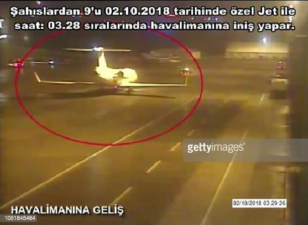 A frame grab on October 102018 taken from a police CCTV video made available through Turkish Newspaper Sabah allegedly shows a private jet alleged to...
